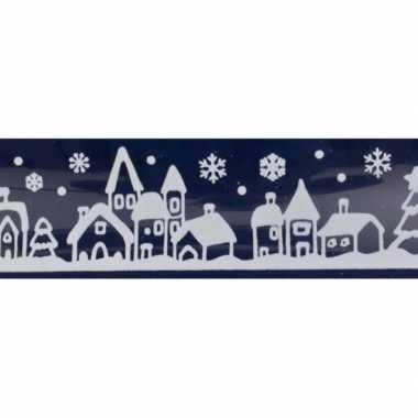 1x kerst raamversiering raamstickers witte stad met huizen 12,5 x 58,5 cm