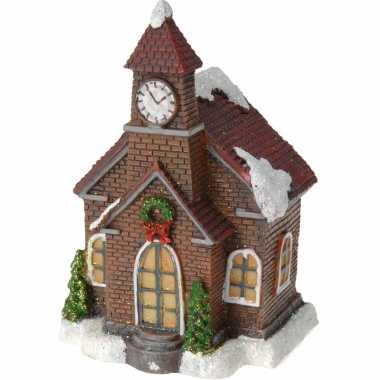 1x kerstkerstdorp huisjes/kerstdorpje kerkje met color change verlichting 13 cm