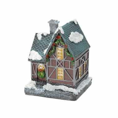 1x kerstkerstdorp huisjes/kerstdorpje met color change verlichting 13 cm type 1