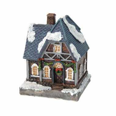 1x kerstkerstdorp huisjes/kerstdorpje met color change verlichting 13 cm type 2