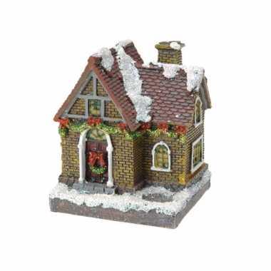 1x kerstkerstdorp huisjes/kerstdorpje met color change verlichting 13 cm type 3