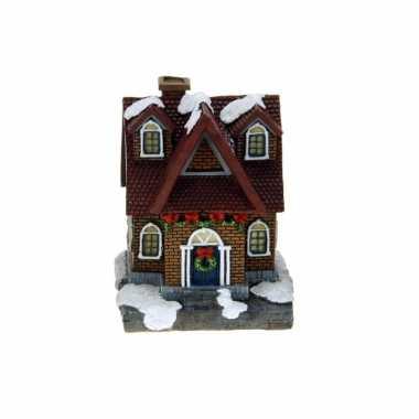1x polystone kerstkerstdorp huisjes/kerstdorpje kerstdorp huisjes rood dak met verlichting 13,5 cm
