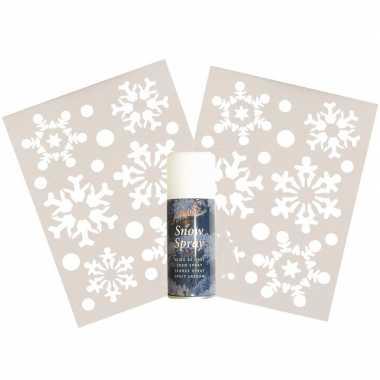 2x kerst raamsjablonen sneeuwvlokken plaatje met sneeuwspray