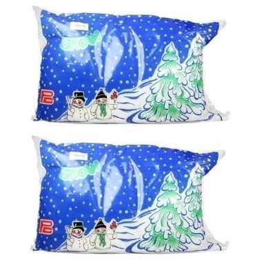 2x kerstkerstdorp huisjes ondergrond sneeuwdeken 100 x 100 cm