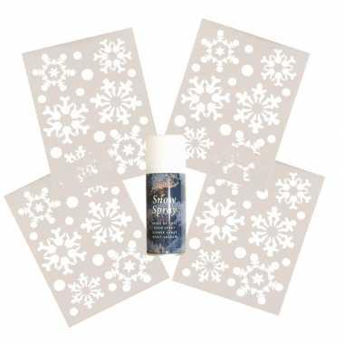 4x kerst raamsjablonen sneeuwvlokken plaatje met sneeuwspray