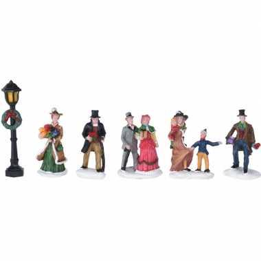7x kerstdorp figuren/poppetjes type 1