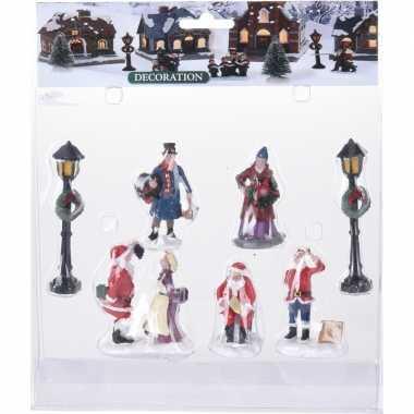 7x kerstdorp figuren/poppetjes type 2