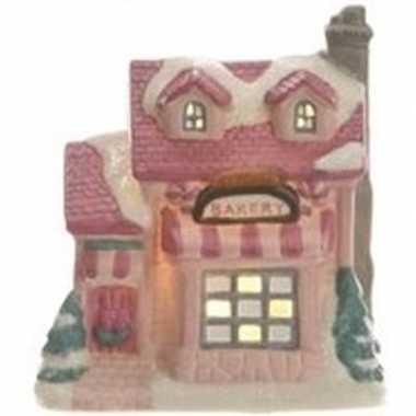 Bakkerij kerstdorp kerstdorp huisje 10 cm met led verlichting