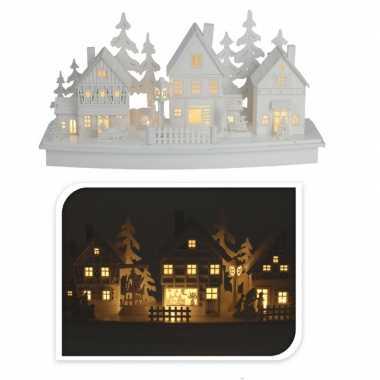 Houten kerstdorp wit met licht type 1