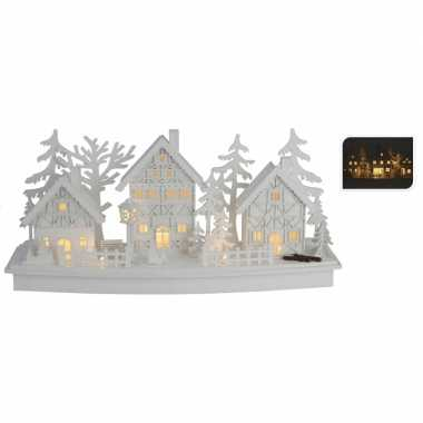 Houten kerstdorp wit met licht type 2