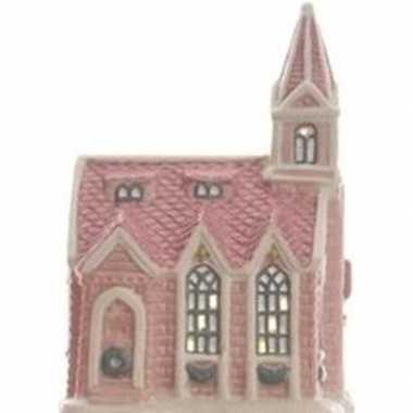 Kerk kerstdorp kerstdorp huisje 10 cm met led verlichting