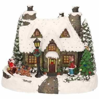 Kerstdorp grijs kerstkerstdorp huisje met kerstman 19 cm