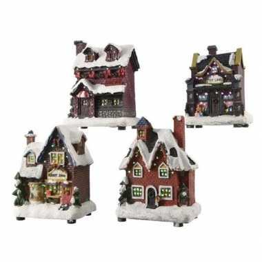 Kerstdorp kerstkerstdorp huisje 12 cm met led verlichting
