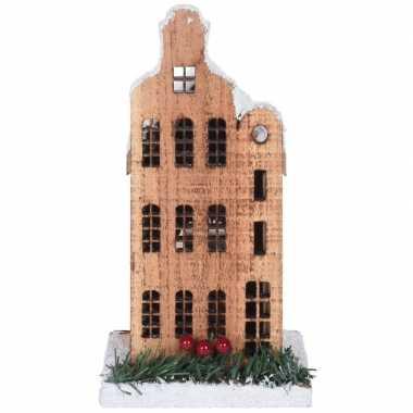 Kerstdorp kerstkerstdorp huisje grachtenpand halsgevel 21 cm met led