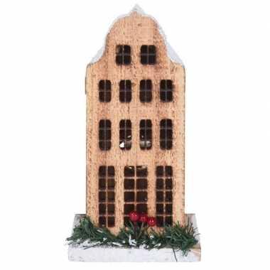 Kerstdorp kerstkerstdorp huisje grachtenpand klokgevel 21 cm met led