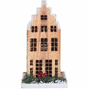 Kerstdorp kerstkerstdorp huisje grachtenpand trapgevel 21 cm met led