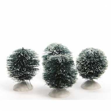 Kerstdorp maken besneeuwde kerststruik groen 6 cm