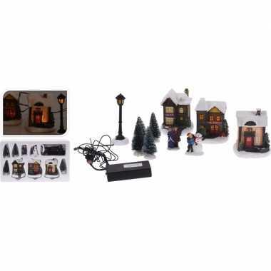 Kerstdorp maken dorp met led lichtjes 10 delig