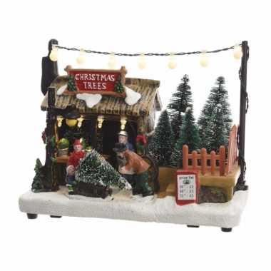 Kerstdorp maken kerstkerstdorp huisje kerstbomen boer met led licht 1