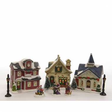 Kerstdorp maken school, kerk en kerstdorp huisje set led licht 36 cm