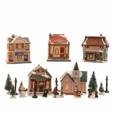 Kerstdorp maken winkelstraat met led licht 45 cm