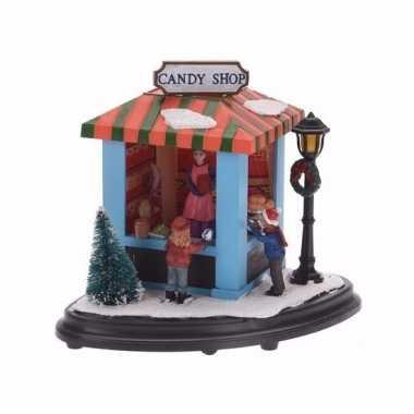 Kerstdorp marktkraampje snoepjes 15 cm met led lichtjes