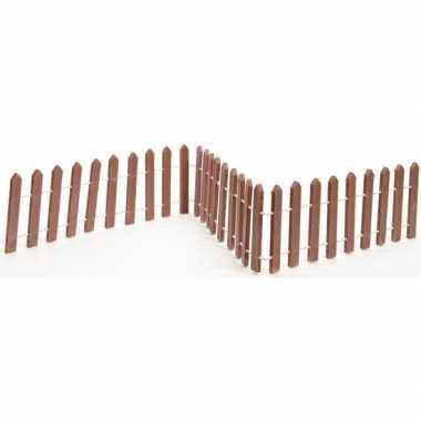 Kerstdorp onderdelen miniatuur tuinhekjes bruin 45 cm