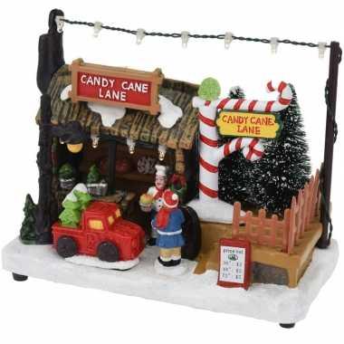 Kerstdorp snoep kraampje/winkeltje 17 cm met led verlichting