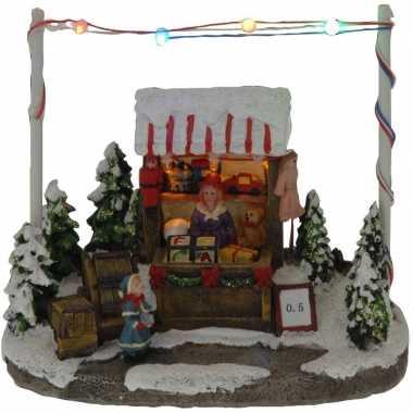 Kerstdorp speelgoed kraampje/winkeltje 16 cm met led verlichting