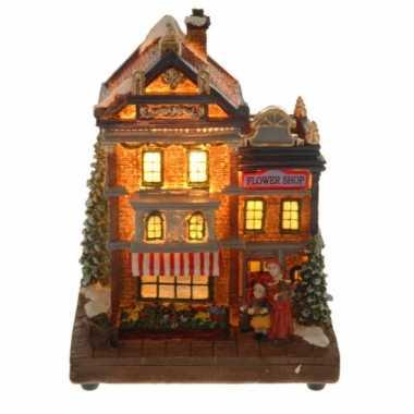 Kerstkerstdorp huisje bloemenwinkel met verlichting | Kerstdorp-kopen.nl