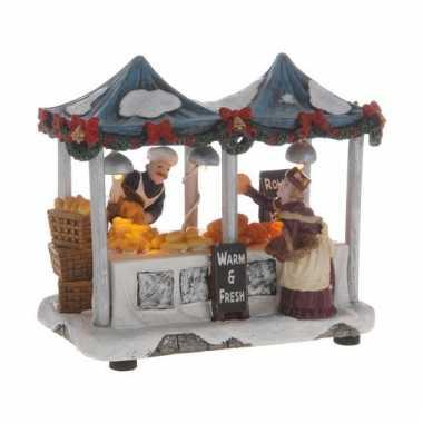 Kerstkerstdorp huisje warme broodjes kraam
