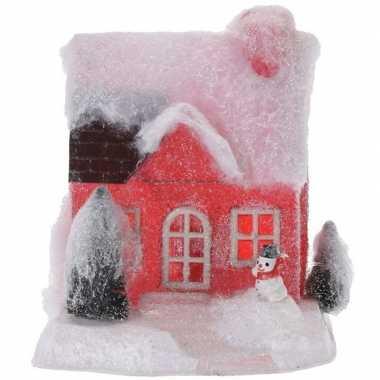 Rood kerstdorp kerstdorp huisje 18 cm type 1 met led verlichting