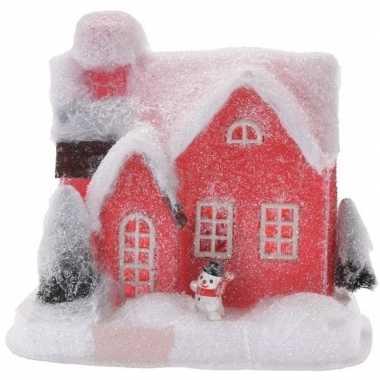 Rood kerstdorp kerstdorp huisje 18 cm type 2 met led verlichting