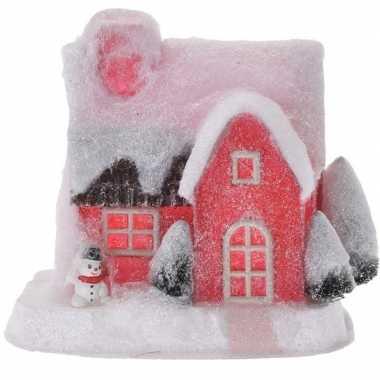 Rood kerstdorp kerstdorp huisje 18 cm type 3 met led verlichting