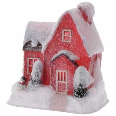 Rood kerstdorp kerstdorp huisje 25 cm type 1 met led verlichting