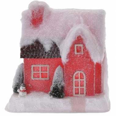Rood kerstdorp kerstdorp huisje 25 cm type 2 met led verlichting
