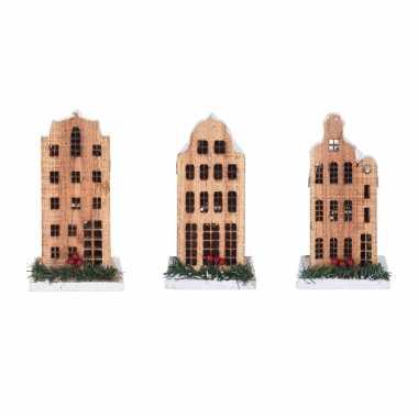 Set van 3x stuks kerstdorp kerstkerstdorp huisjes grachtenpanden van 21 cm met led