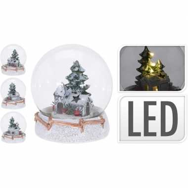 Sneeuwbol glasbal met kerstkerstdorp huisje inclusief led verlichting