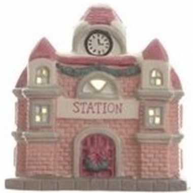 Station kerstdorp kerstdorp huisje 11 cm met led verlichting