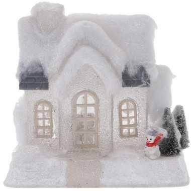Wit kerstdorp kerstdorp huisje 18 cm type 1 met led verlichting