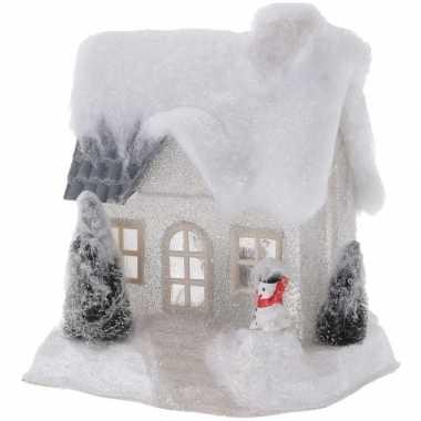 Wit kerstdorp kerstdorp huisje 18 cm type 2 met led verlichting