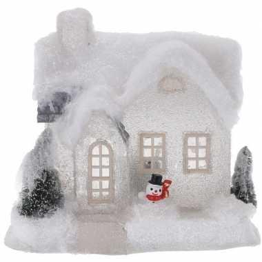 Wit kerstdorp kerstdorp huisje 18 cm type 3 met led verlichting