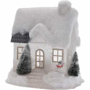 Wit kerstdorp kerstdorp huisje 25 cm type 1 met led verlichting