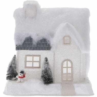 Wit kerstdorp kerstdorp huisje 25 cm type 2 met led verlichting