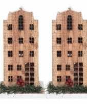 2x kerstdorp kerstkerstdorp huisjes grachtenpanden 21 cm met led