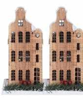 2x kerstdorp kerstkerstdorp huisjes grachtenpanden halsgevel 21 cm met led