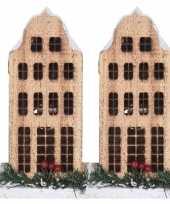 2x kerstdorp kerstkerstdorp huisjes grachtenpanden klokgevel 21 cm met led