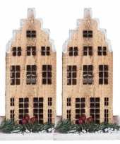 2x kerstdorp kerstkerstdorp huisjes grachtenpanden trapgevel 21 cm met led