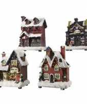 Kerstdorp kerstkerstdorp huisje snoepwinkel 12 cm met led verlichting