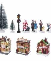 Kerstdorp kerstkerstdorp huisjes en accessoires set 17dlg met led